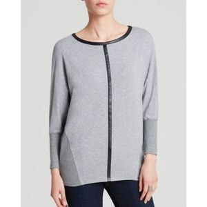 Vince Camuto Dolman Faux Leather Trim Sweater Top